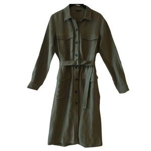 Ann Taylor moss green button down shirt dress
